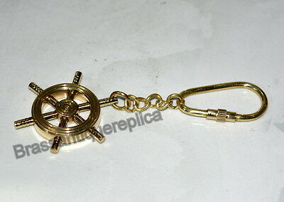 Vintage Nautical Brass Keyring Wheel Key Chain