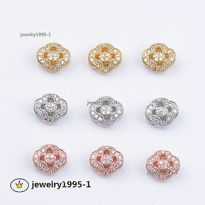 Zircon Gemstone Micro Pave Flower Big Hole Connector Charm Spacer Beads