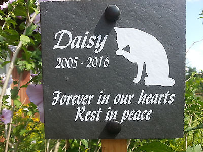 "Deep engraved  Slate Pet Memorial Grave Marker Plaque Cat + oak stake 6"" x 6"""