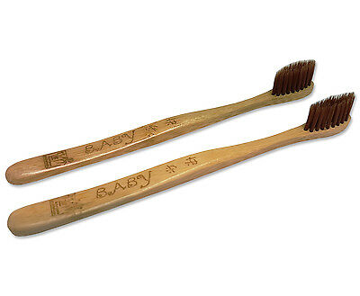 2 x Kids Bamboo Toothbrush, Soft Bristle for Children Eco Friendly BioDegradable