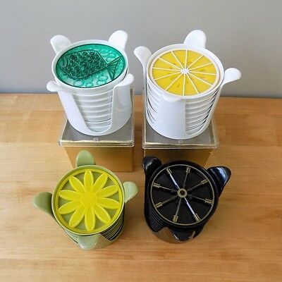 4 sets of MID CENTURY MODERN RETRO PLASTIC BAR COCKTAIL COASTERS