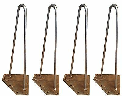 """Set 4 Hairpin Table Legs Steel Antique Vintage Industrial Retro 8"""" To 30"""" Tall"""