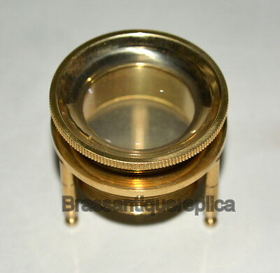 """2"""" Brass Vintage Magnifying Glass 2X Tripod Paperweight"""