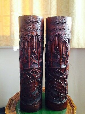 pair of vintage Chinese bamboo brush pots
