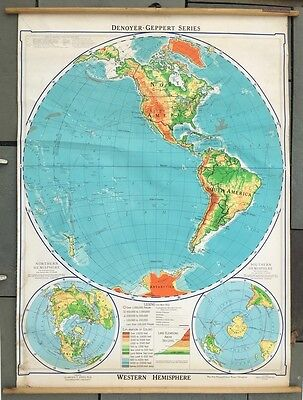 1957 Canvas Pull-Down Physical-Polical Map of The Western Hemisphere_D-Geppert