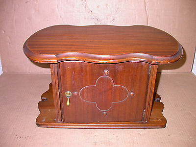 Antique Humidor Copper Lined Mahogany 20 x 14 x 11 Desk/Table Top Man Cave Decor