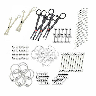 Professional Body Piercing Kit Assorted Jewelry 80 Parts