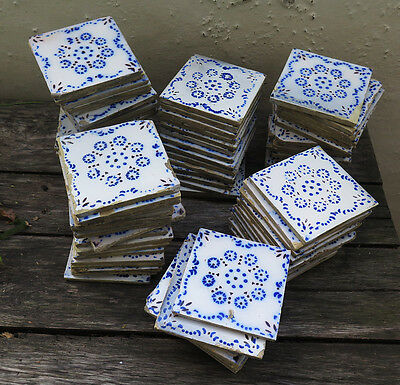 Ninety Beautiful French Devres Antique Hand Painted Tiles