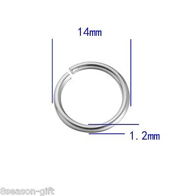 GIFT 500X Open Rings 304 Stainless Steel Silver Plated 14mm