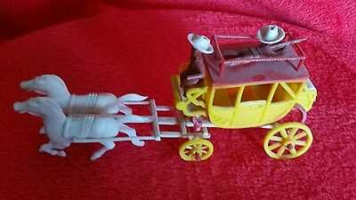 Vintage Plastic  Stage Coach Toy w/ Driver & Horses