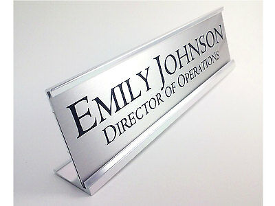 Personalized Desk Name plate nameplate Silver with Silver Aluminum Holder 2 x 8