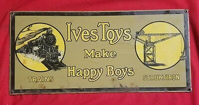 ives toys make happy boys porcelain sign.