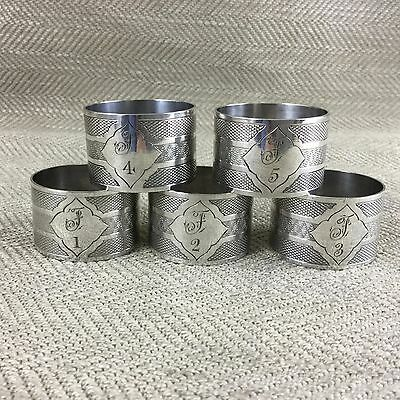 Antique Victorian Napkin Rings Silver Plated Engraved Numbered Set of 5