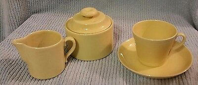 Yellow Creamer, Sugar and Cup with Saucer