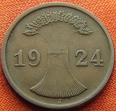 Germany 1924 - J 2 Rp Rentenpfennig German Weimar Republic Bronze Coin (Rl#1875)