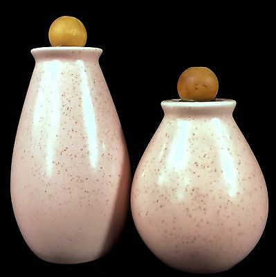 VERNON WARE Vintage 1950s MCM TICKLED PINK SALT PEPPER SHAKER SET METLOX