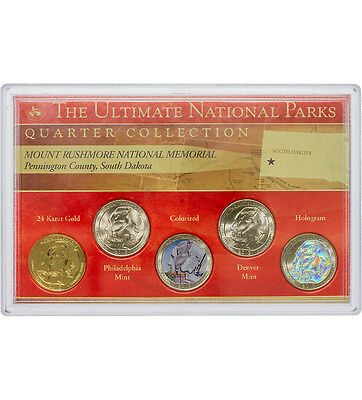 2013 Mt. Rushmore National Quarter Collection US Coin Gold Hologram Paint C3790