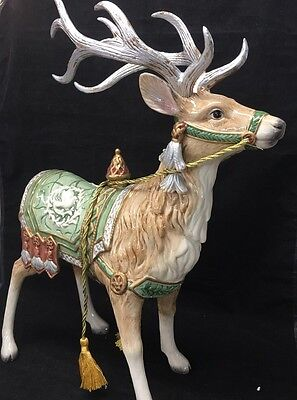 Fitz and Floyd GREGORIAN Christmas Centerpiece Reindeer Deer Figurine Excellent