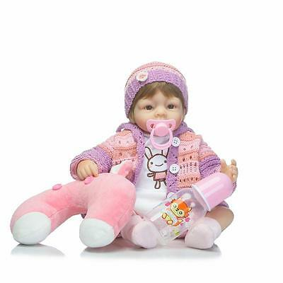 "17"" Realistic Handmade Silicone Reborn Baby Girl Doll Lifelike Soft Vinyl Gift"