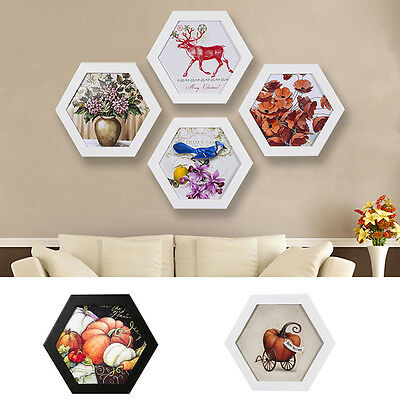 Creative Hexagon Photo Frame Wall Mounted Home Family Art Picture Holder Decor