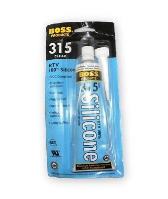 Boss Products 315 Clear RTV 100% Silicone Sealant Professional Grade 3 fl oz