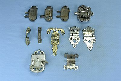 Antique MIXED LOT of 11 ICE BOX HARDWARE HANDLES HINGES LATCH STEAMPUNK #03616