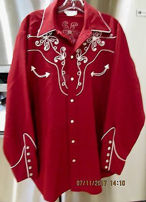 "Vintage H Bar C California RanchWear Fancy Embroidered LS Shirt 16.5"" 46"" Chest"