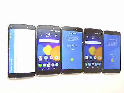 Lot of 5 Alcatel OneTouch Idol 3 60450 Cricket Smartphones Power On AS-IS GSM !