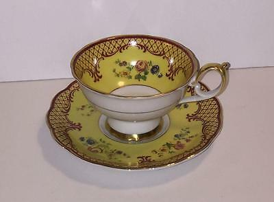 Royal Bayreuth Cup and Saucer Yellow with Rust Filligree Floral Gold