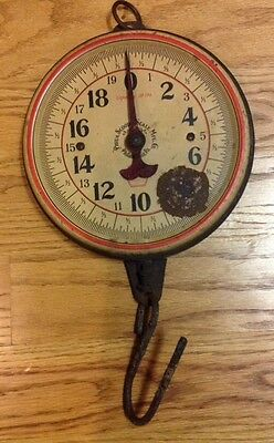 ANTIQUE PHILA SCOOP & SCALE MFG. CO. - RED BORDER - HANGING SCALE Cap. 20 Lbs.