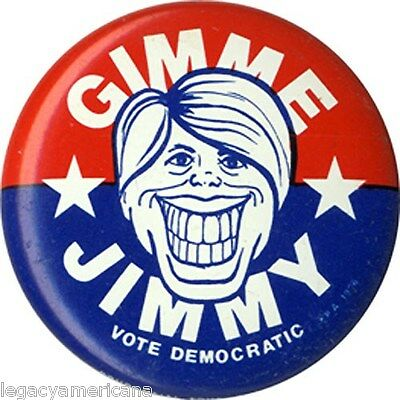 Whimsical 1976 Jimmy Carter GIMME JIMMY Campaign Caricature Button (4902)