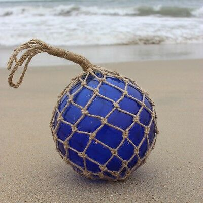 Large Vintage Japanese Fishing Float ~Blue Glass with Rope Netting