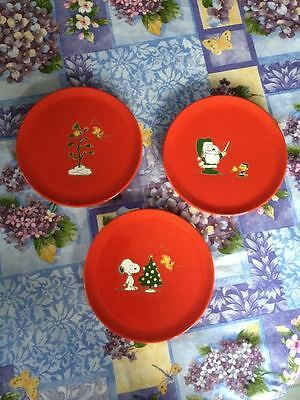 Set 3 Waechtersbach Germany Snoopy Woodstock Peanuts Christmas Plates Dishes New
