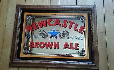 Vintage Newcastle Brown Ale Mirrored Sign Great Condition Oak Mitterd Frame