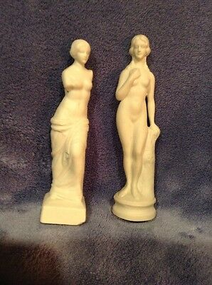 Set Of 2 Antique/Vintage White Bisque Nude Figurine Statues / Germany  5""