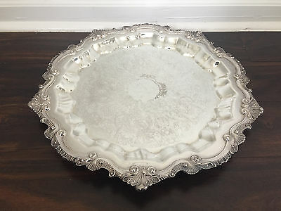 Wallace Footed Chippendale Silverplate Serving Tray X110