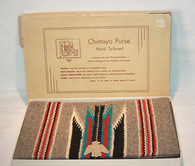 VTG Mint Chimayo Hand Woven Wool Native American Grey Purse Bag Original Box