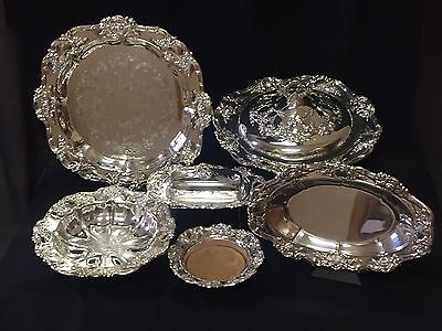 OLD MASTER By Towle Silverplate Lot Serving Dishes Covered Dish Tray 6 Pcs. NICE