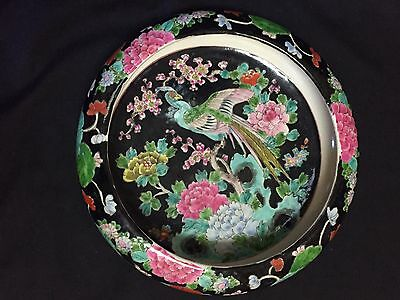 Chinese Porcelain Famille Rose Noir Bowl - Floral with Bird of Paradise 10""