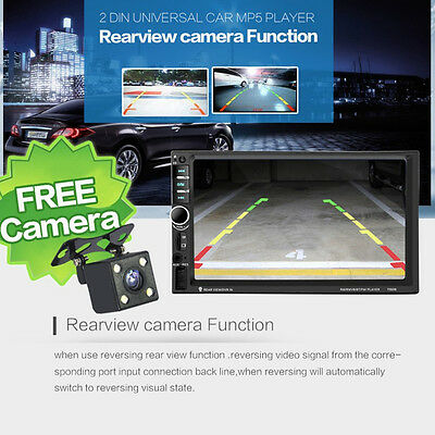 1X Touch Screen Car MP5 Player Blutooth Rear View Camera Hand Free USB TF AUX