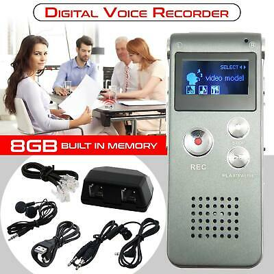 Rechargeable Voice Activated 8GB Mini Digital Spy Audio Recorder Mp3 Dictaphone