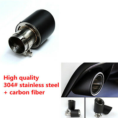Universal Real Carbon Fiber Stainless Steel Exhaust Pipe Tips for Car 63-101mm