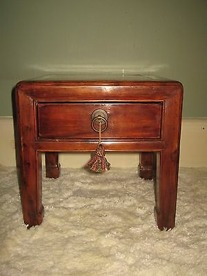 Antique Chinese Horse-Hoof Legs One Drawer Wood Table