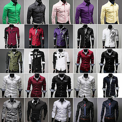 Men Casual Dress Shirt Slim Fit Long Sleeve T-shirt Tops Stylish Formal Business