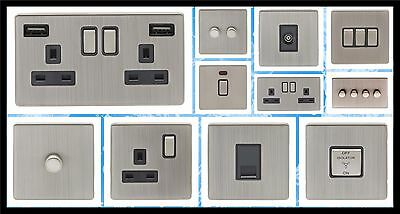 Screwless Satin Nickel Double Plug Socket With Usb, Led Or Standard Dimmer.