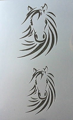 #1M HORSE Head Airbrushing Stencil Paint Decoration Mylar Reusable Flame Burn
