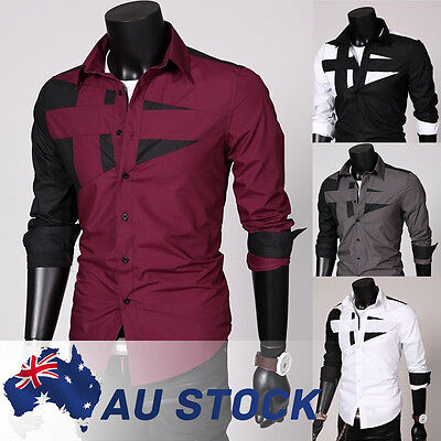 Mens Long Sleeve Casual Shirt Slim Fit Formal Business Dress Shirts Tops Stylish