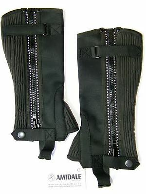 Half Chaps Horse Riding Equestrian Black Amara With Crystals Child Size Amidale