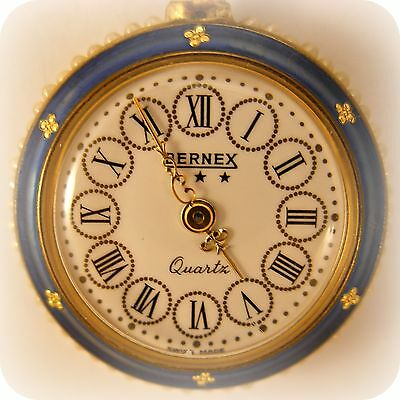 Bernex Quartz gold plated, Blue Enamel and Pearls Pocket Watch / Pendant