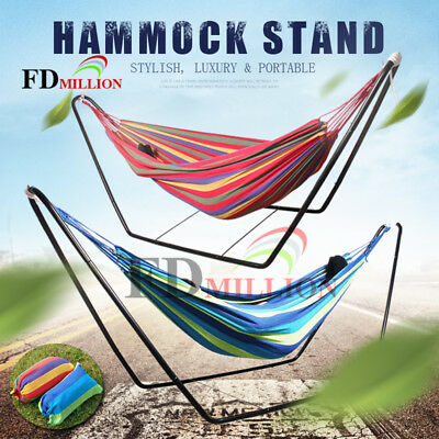 Double Hammock With Steel Stand Portable Outdoor Swing Camping Chair 300x150cm